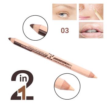 Profesjonalny 2 w 1 wodoodporny nawilżający makijaż ołówek do brwi kolorowy korektor dwustronny kremowy korektor do brwi tanie i dobre opinie FGHGF Wszystkich rodzajów skóry Wodoodporna wodoodporny Wybielanie Rozjaśnić Naturalne Inne W pełnym rozmiarze Face