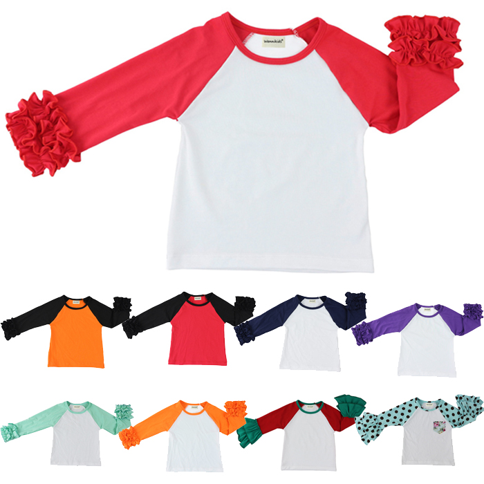 Free ship girls clothes o-neck baby girls kids icing ruffle raglan tops shirts girls casual tops fall Spring Autumn top T-shirt