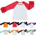 Свободный корабль девушки одежда о-образным вырезом детские девушки дети обледенения рябить реглан топы рубашки девушки повседневная топы осень Весна Осень топ футболка