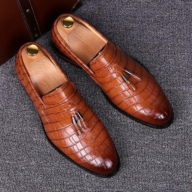 England designer brand casual wedding party dress alligator genuine leather shoes slip on flats shoe oxfords tassel loafers male