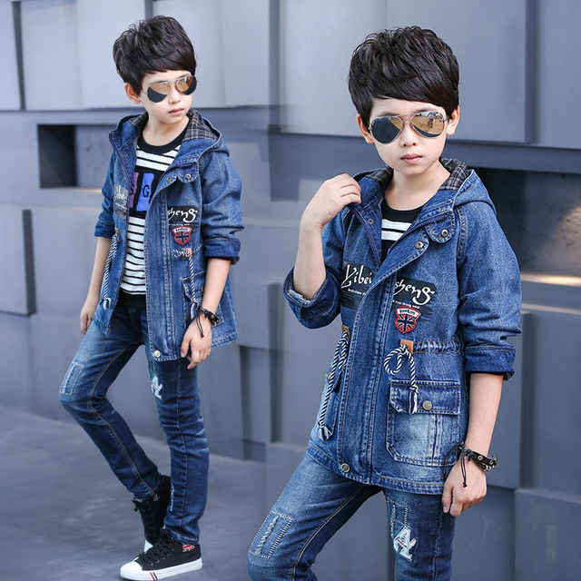 2018 New Boys Autumn Spring Hooded Denim Coat School Boys Cowboy Jackets Children's Casual Outwear Kids Clothing Jean Jackets