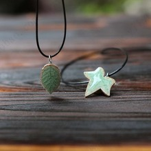 Unique Original Ceramic Pendant Necklace Handmade Jewelry Small Green Leaf and Black Bohemian Rope for Women Girl Lovers