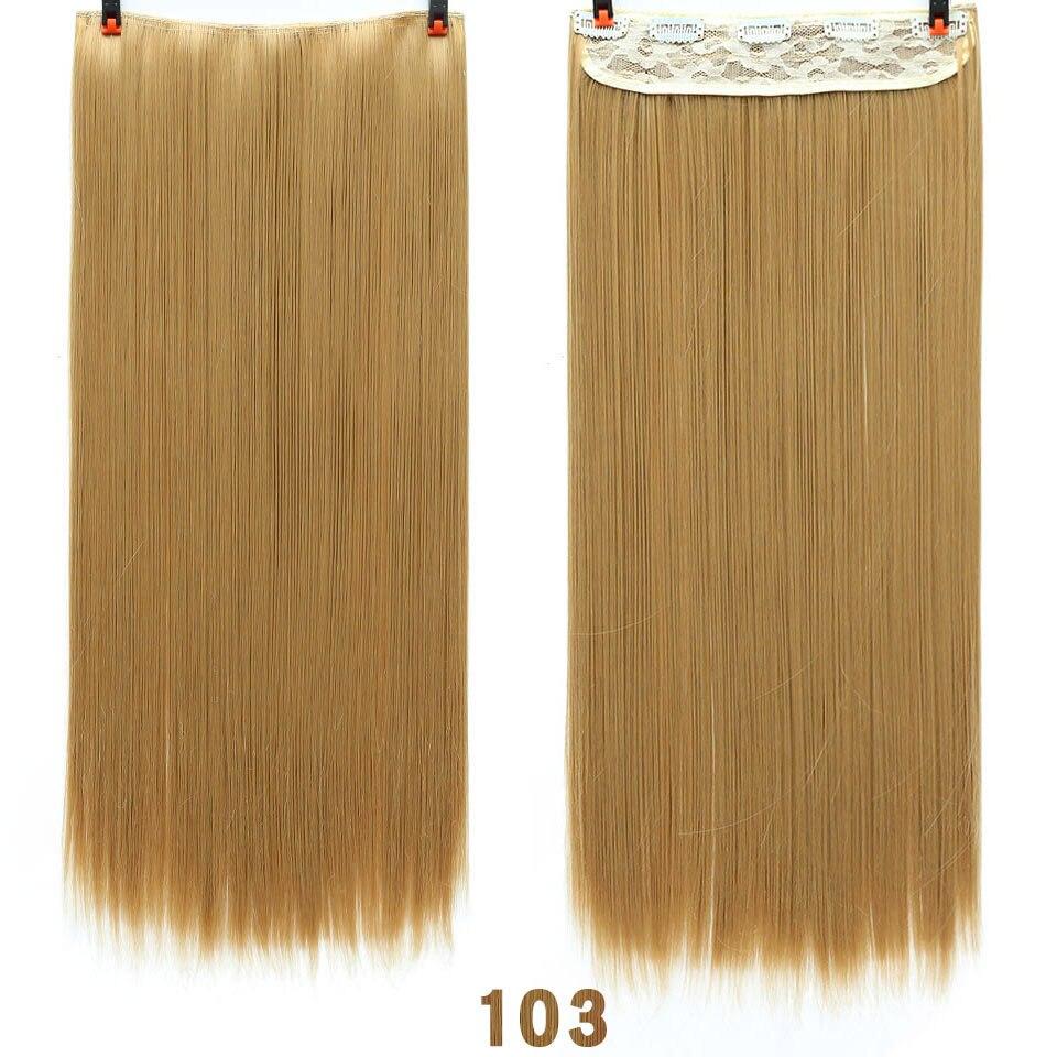 SHANGKE волосы 24 ''длинные прямые женские волосы на заколках для наращивания черный коричневый высокая температура Синтетические волосы кусок - Цвет: 103