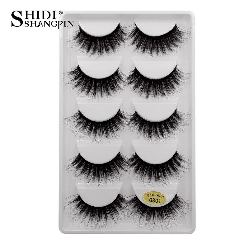 SHIDISHANGPIN 5 Pairs Mink Eyelashes Hand Made Makeup 3D Mink Eyelashes  Natural Long Lashes Mink 1cm-1 5cm Eyelashes G801