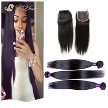7A Cheap Peruvian Straight With Closure Unprocessed Virgin Hair Lace Closure With Bundles High Quality Human Hair Weaves