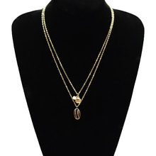 Fashion Metal Shell Pearl Long Chain Necklace Pendants Double Layered Gold Silver Clavicle Statement