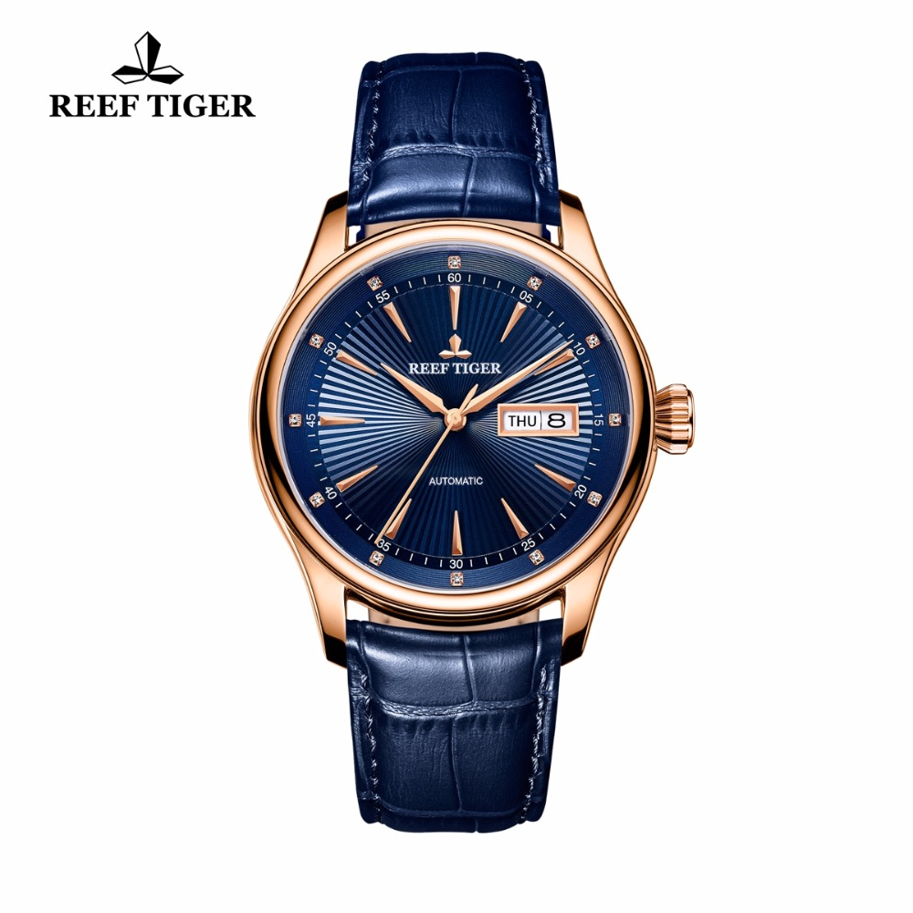 2017 New Reef Tiger/RT Classic Dress Brand Watches for Men Rose Gold Automatic Watch with Date Day RGA8232 вьетнамки reef day prints palm real teal