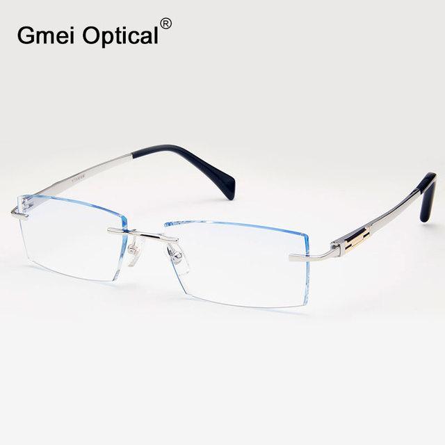 Gmei Q1823 Sem Aro Óptico Óculos de Moda com Lentes Personalizadas Forma de Corte De Diamante para Homens Óculos de Armação de óculos