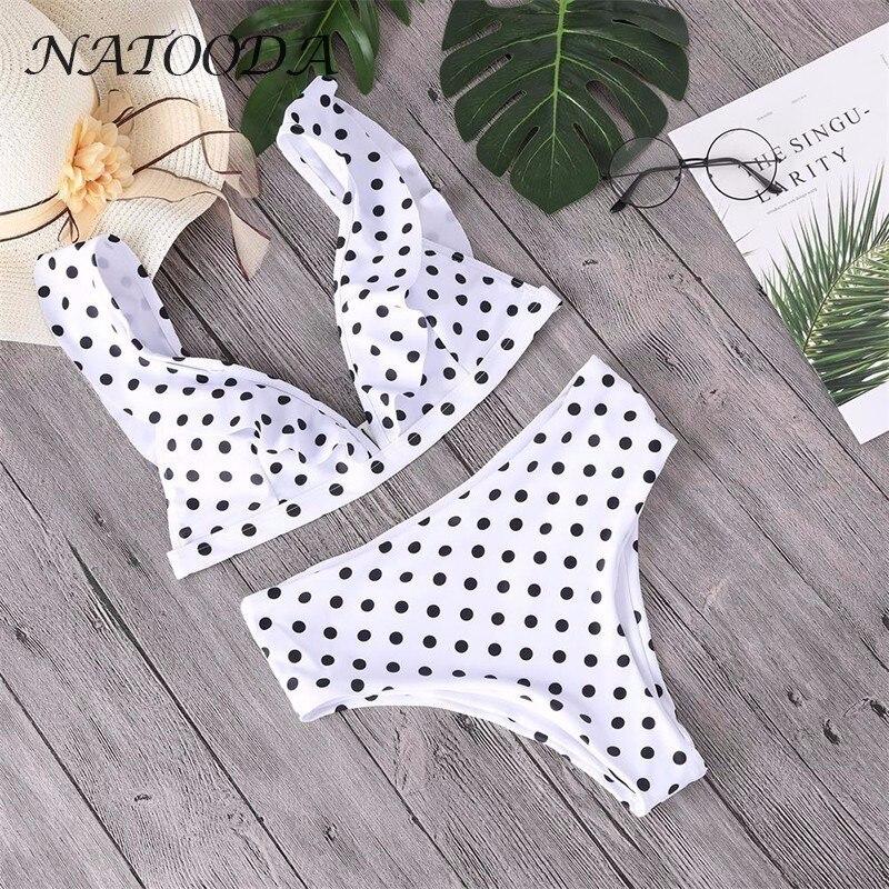 NATOODA Ruffle High Waist Sexy Swimsuit Dot Bikini Set New Style Summer  Beach 2018 Brazilian Women Wear bikinis Swimwear