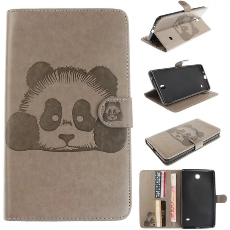 Luxury Panda Cartoon Tablet PU Leather Flip Stand Tablet Book Case For Samsung Galaxy Tab 4 Tab4 7.0 T230 T231 T235 Cover keymao luxury flip leather case for samsung galaxy s7 edge