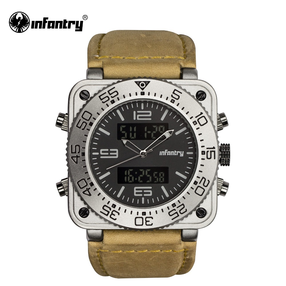 INFANTRY Military Watch Men LED Digital Quartz Mens Watches Top Brand Luxury Genuine Leather Army Big Tactical Relogio Masculino infantry army military watch men led digital quartz mens watches top brand luxury police square big tactical relogio masculino