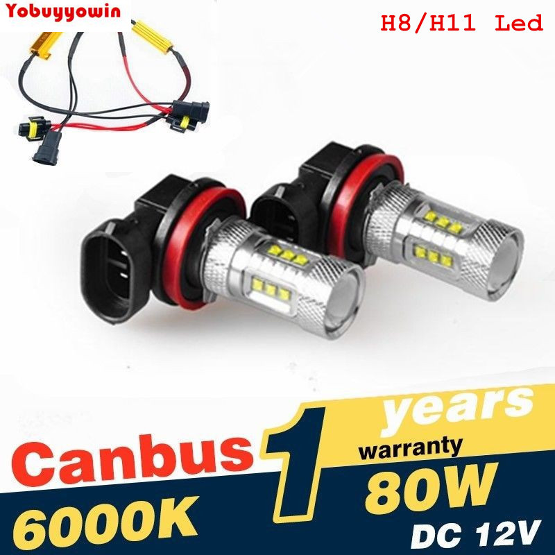 2Pcs/Lot Super White H8 H11 CREE Chip LED Fog Light Driving Bulbs +Canbus Decoders Error Free for BMW E71 X6 M E70 X5 E83 F25 x3 2pcs 12v 31mm 36mm 39mm 41mm canbus led auto festoon light error free interior doom lamp car styling for volvo bmw audi benz
