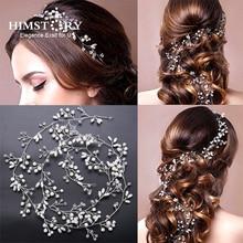 HIMSTORY Long Tiaras DIY Bridal Headbands Crystal Wedding Hair Accessories Pearl Headpiece Handmade Hair Jewelry Women Hairwear