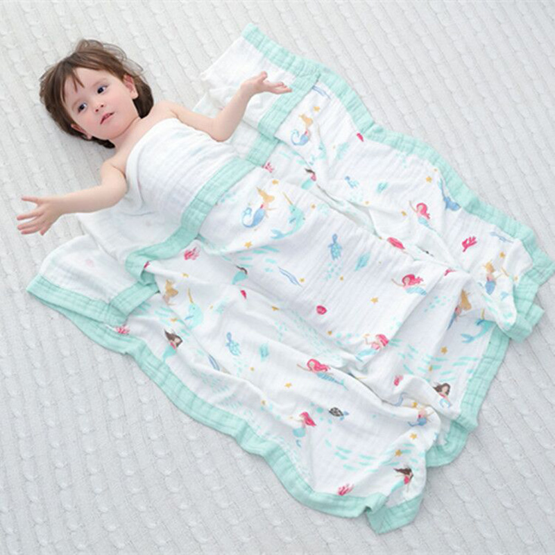 цены Bamboo Fiber Cotton Baby Muslin Swaddle For Infant Baby Bedding Sheet For Kids Bath Towel 2 Layers Baby Blanket For Newborns