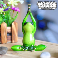 1 PCS New Arrival Yoga Style Frog With Sitting Pose Glossy Colored Drawing Small Resin Decoration