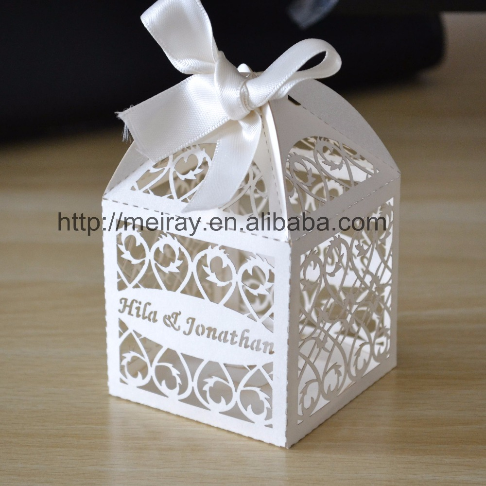 custom gift boxes small white lace gift bags for wedding with logo ...