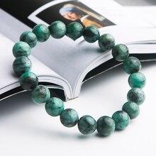 9mm High Quality Natural Green Emerald Crystal Round Beads Bracelet Gemstone Women Rarest Jewelry AAAAA