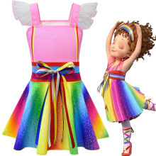 3-10Year Flower Girls fancy nancy Tutu Dress Pastel Rainbow Princess Girls Birthday Party Dress Children Kids Halloween  Costume 3 10year flower girls fancy nancy tutu dress pastel rainbow princess girls birthday party dress children kids halloween costume