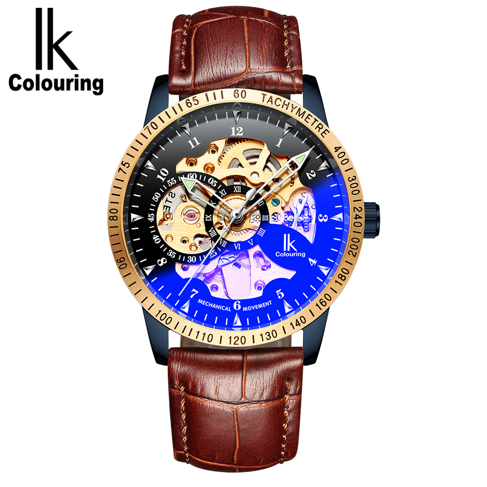 ik colouring mens orologio uomo automatic wristwatch skeleton steampunk wrist watch stainless steel band male clock montre homme IK Colouring 2018 Fashion Male Clock Leather Band Men Wrist Watch Skeleton Automatic Mechanical Wristwatch erkek kol saati