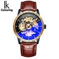 IK coloring 2018 модные мужские часы кожаный ремешок мужские наручные часы Скелет автоматические механические наручные часы erkek kol saati