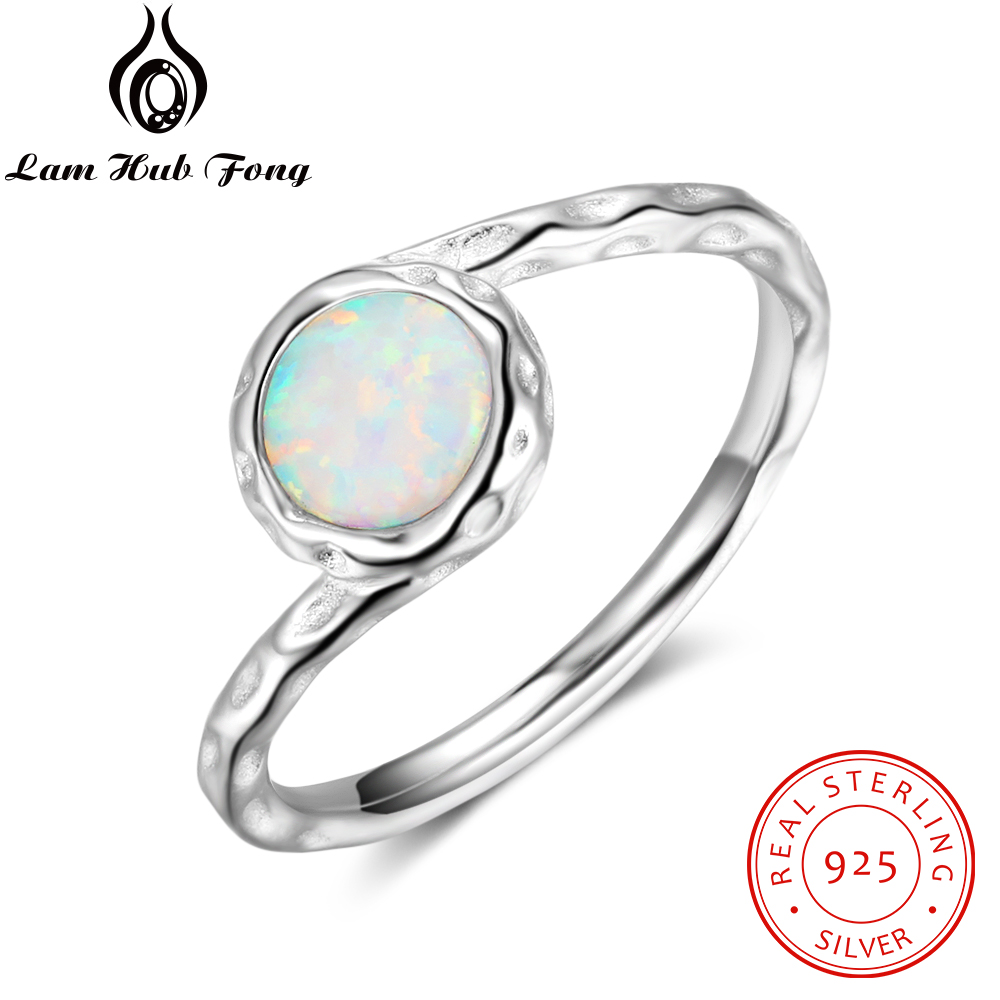 Stylish Round White Opal Rings For Womens