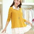 Twinset top plus size roupa de maternidade outono e inverno de chiffon de médio-longo camisola solta maternidade camisola one-piece dress