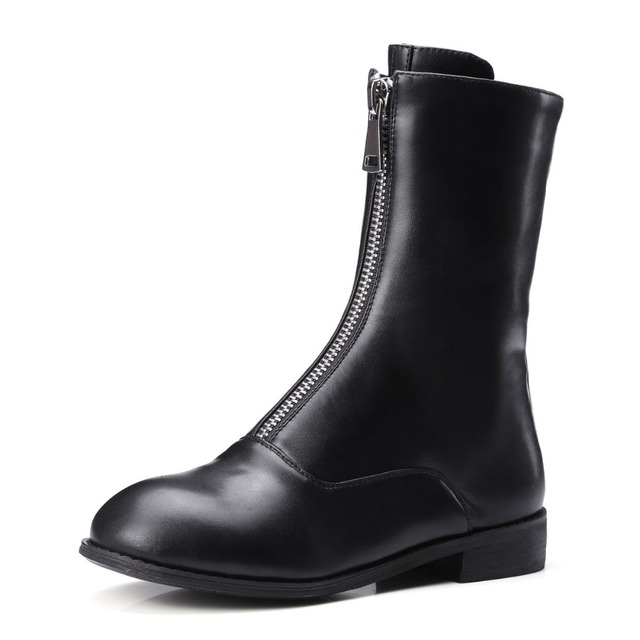 Vintage Style Women Boots Front Zip Mid-Calf Boots Big Size 34-43
