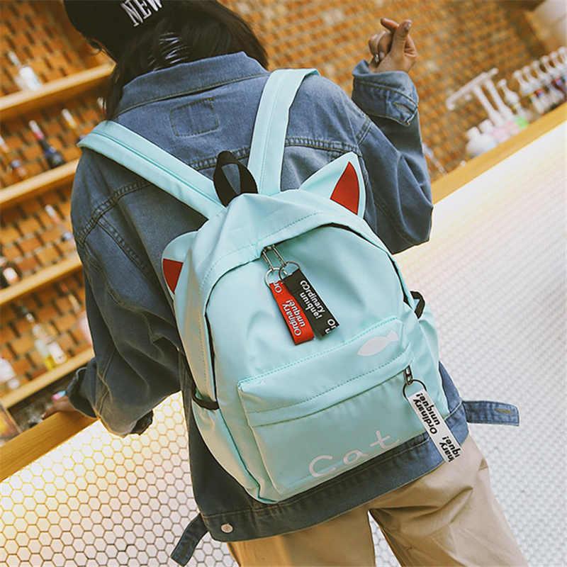 Харадзюку принт, прекрасная кошечка рюкзак женский Нейлоновый Рюкзак городской рюкзак для подростков Повседневный милый корейский каваи Кролик уха рюкзак