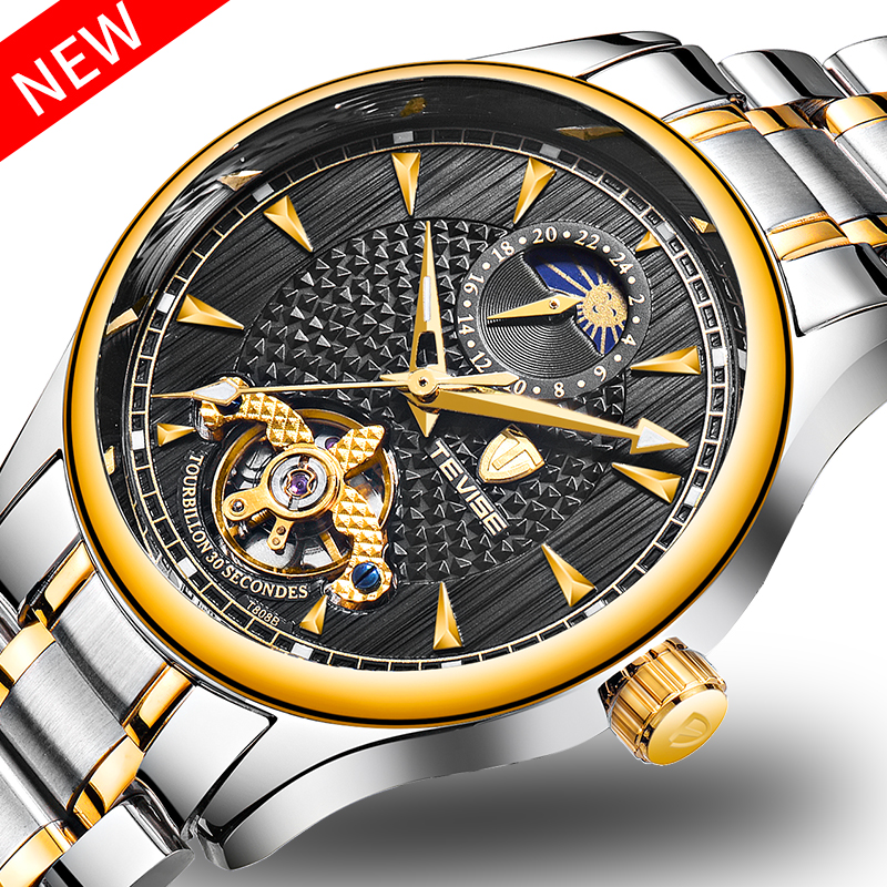 TEVISE Luxury Men Watch Automatic Mechanical Self-winding Watches Waterproof Moon Phase Stainless Steel Mens Wristwatch+Box tevise men automatic self wind gola stainless steel watches luxury 12 symbolic animals dial mechanical date wristwatches9055g