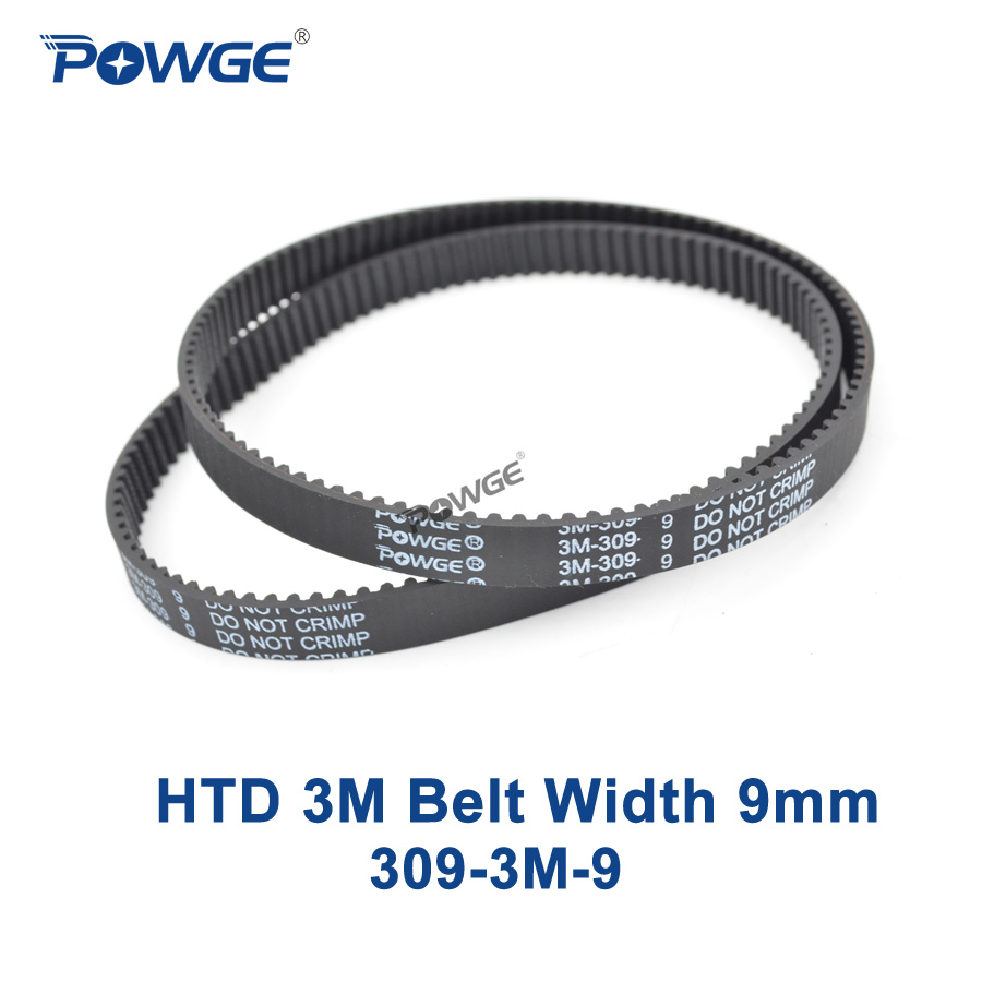 POWGE 2pcs HTD 3M Timing belt Pitch length 309 3M 9 width 9mm Teeth 103 Rubber HTD3M synchronous belt 309-3M-9 in closed-loopPOWGE 2pcs HTD 3M Timing belt Pitch length 309 3M 9 width 9mm Teeth 103 Rubber HTD3M synchronous belt 309-3M-9 in closed-loop