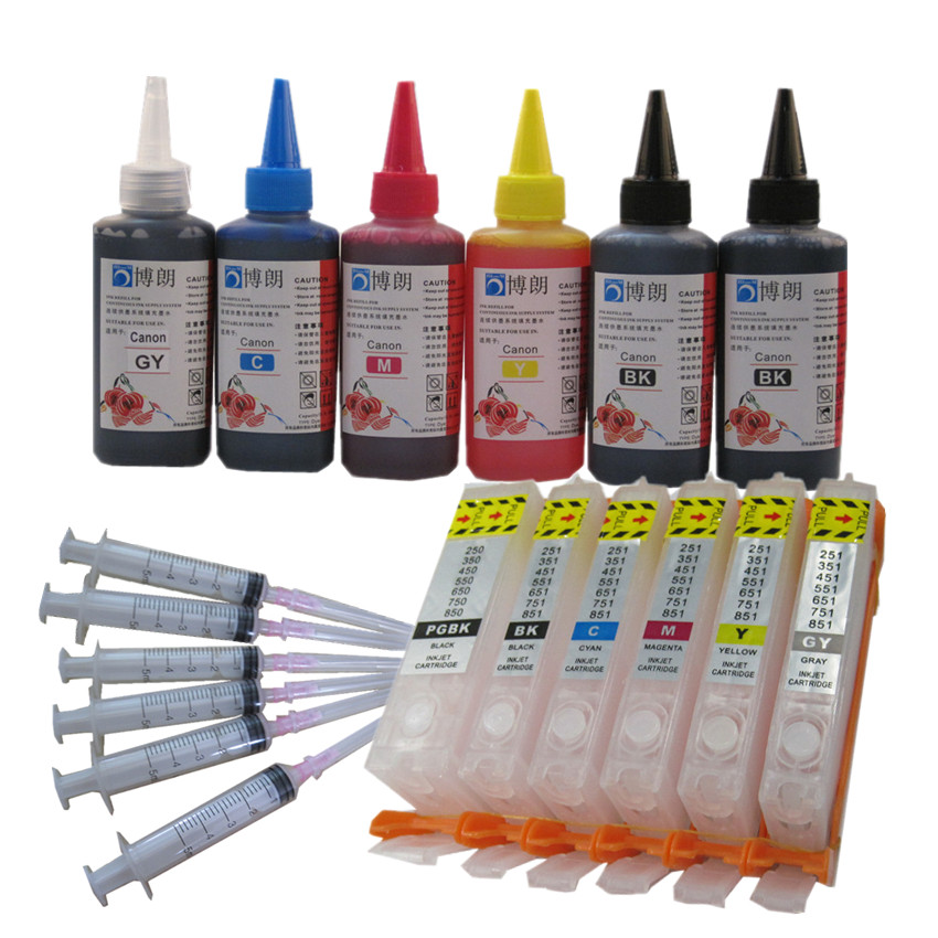 PGI 570 CLI 571 refill ink kit For CANON pixma MG7750 MG7751 7752 7753 TS8050 TS9050 printer + 6 Color Dye Ink 100ml pgi 470 471 refill ink kit printer ink refillable empty cartridge with refill tool for canon pixma mg6840 mg5740 ts5040 ts6040 page 1