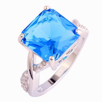 Merthus Elegant Women Copper Rings Lab-Created Gemstone Fashion Party Wedding Engagement Jewelry Ring Size6 7 8 9 10