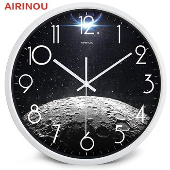 Airinou the Moon Starry Sky and Mars 3 Styles ,Glass&Metal Silent Movement Wall Clock,Children Room Museum Theme Park  Decorate 11