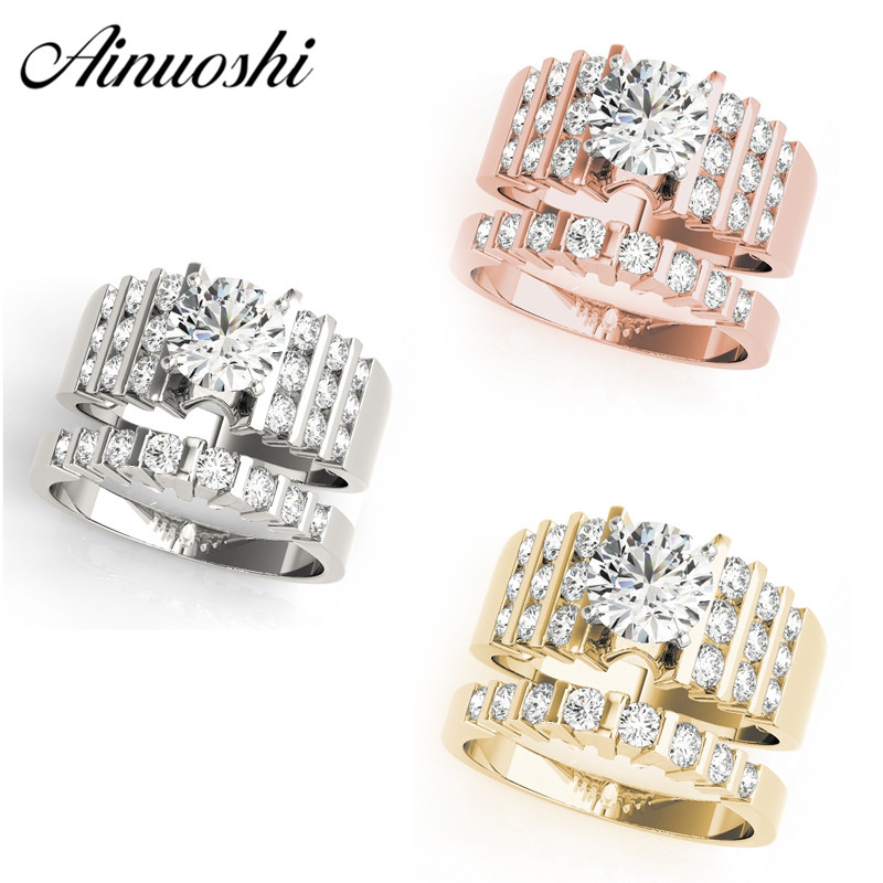 AINUOSHI 925 Sterling Silver Women Wedding Ring Set White Gold Yellow Gold Rose Gold Color 1ct