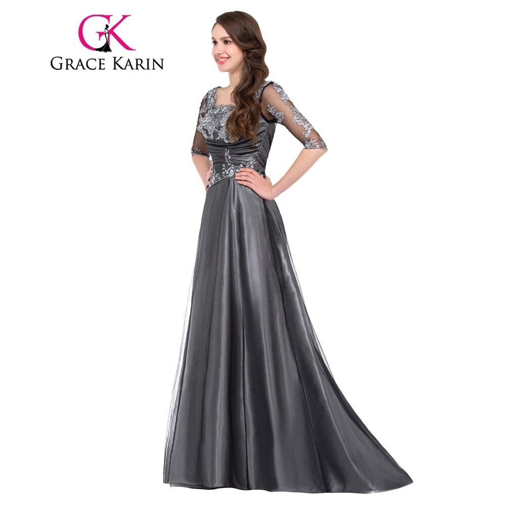 896c6da90 Grace Karin Madre De la novia vestidos largos para la boda media manga  encaje apliques Vestido De Madrinha madre Vestido De graduación 2018 en  Vestidos para ...