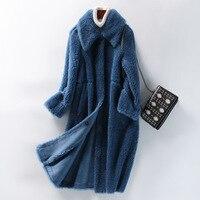 2019 Winter Women Fur Coat Turn Down Collar Women Long Jacket Coat Lambswool Long Winter Warm Feece Coat Casaco Feminino
