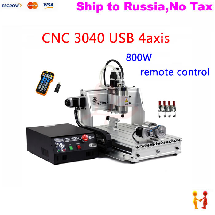 (NO TAX TO Russia) 3040 woodworking lathe cnc milling machine with 4axis rotary axis 800w spindle mach3 remote control 4 axis cnc router 3040z s 800w cnc spindle cnc milling machine with dsp0501 controller free ship to russia no tax