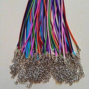 Image 3 - Broche de langosta de 1,5mm, 100 unidades de cuerda de cuero de cera mixta, collar, colgante de cuerda de 45cm, joyería diy, colgantes, venta al por mayor
