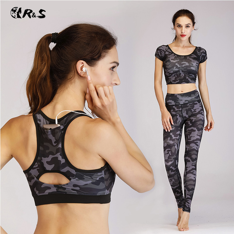 R&S 2018 Women Yoga Set High Waist Sports Pants+Sport Bra+T-shirt Camouflage Leggings Fitness Suit tracksuit 3 Pieces Sport Suit lyseacia breathable sport suit women fitness suit yoga bra long sleeeve hoodies running yoga t shirt sports leggings sportswear