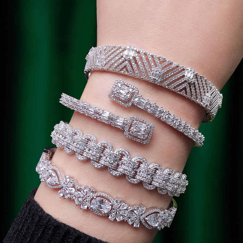 GODKI Trendy Luxury Stackable Bangle Cuff For Women Wedding Full Cubic Zircon Crystal CZ Dubai Silver Bracelet Party Jewelry2019