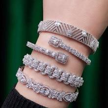 GODKI Trendy Luxury Stackable Bangle Cuff For Women Wedding Full Cubic Zircon Crystal CZ Dubai Silver Bracelet Party Jewelry2019