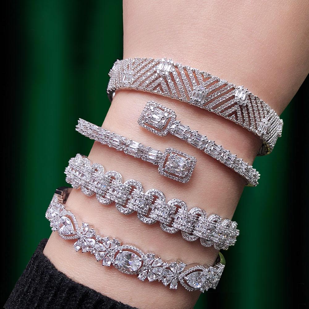 GODKI, pulseras apilables de lujo a la moda para mujer, boda, circón cúbico completo, cristal CZ, pulsera de Dubái Party Jewelry2019