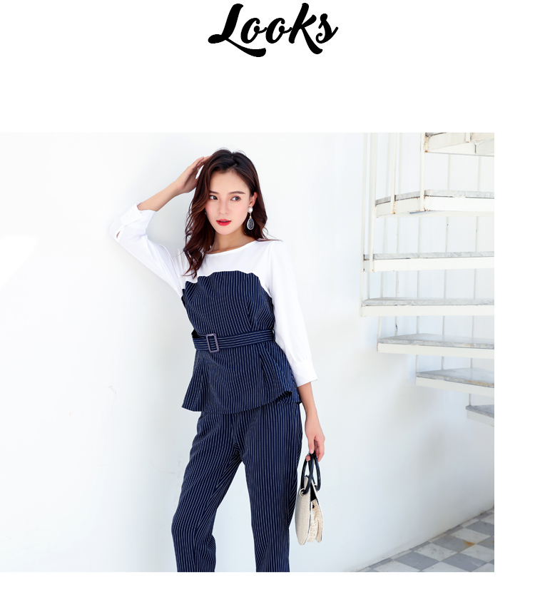 Office Lady Elegant 2PCS Pant Suit Set Women Blue Stripes Blouse And Trouser Suit Business Casual Outfits Woman Top With Pants Set Plus Size Clothings (9)