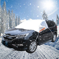 waterproof rain Half Car Cover Protector Waterproof Outdoor Snow Dust Rain Resistant Shield Car Covers Solar Protection Sunscreen Reflective (2)
