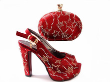 Africa Style Crystal Shoes And Matching Bag Set New Italian Woman High Heels Shoes And Bag Set For Wedding Dress Red Color G13