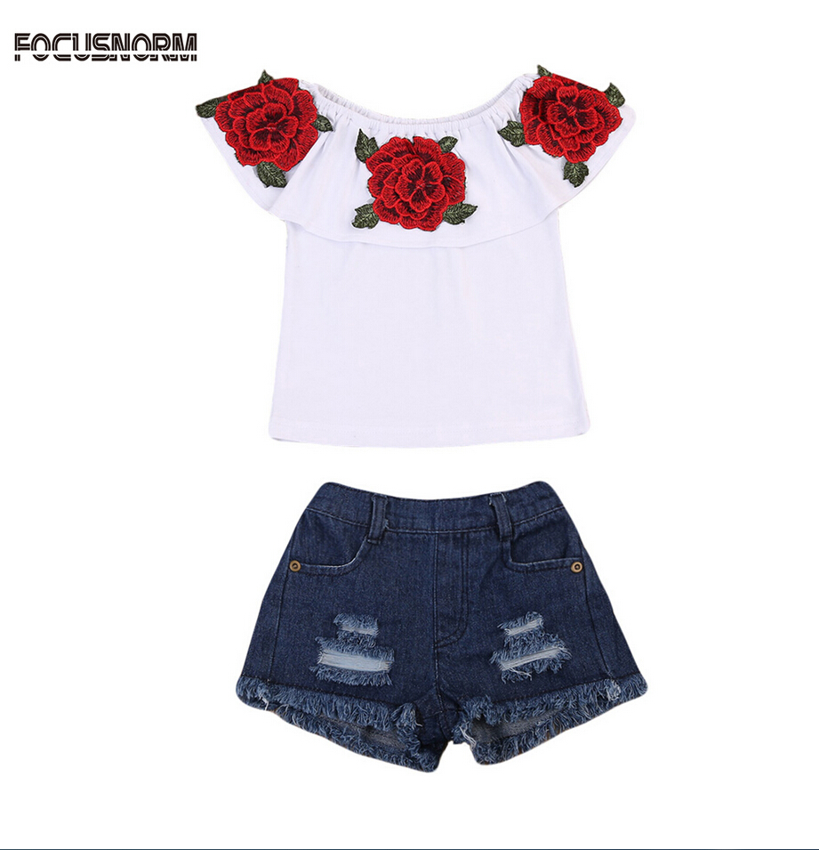 US Toddler Kids Baby Girl Short Sleeve Flower Tops+Denim Dress Outfits Clothing