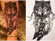 Волк временные прохладный салон перо наклейки татуировки водонепроницаемый с