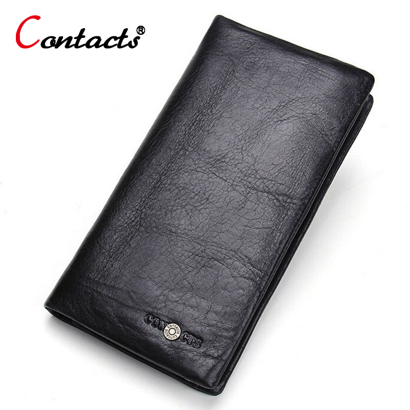 CONTACT'S Long Wallets Clutches Men Genuine Leather Purses Large Capacity Wallets Business Card Holder Designer Wallet Men 2018 free shipping new high quality men wallets genuine leather wallet fashion design large capacity men purses wallets card holder