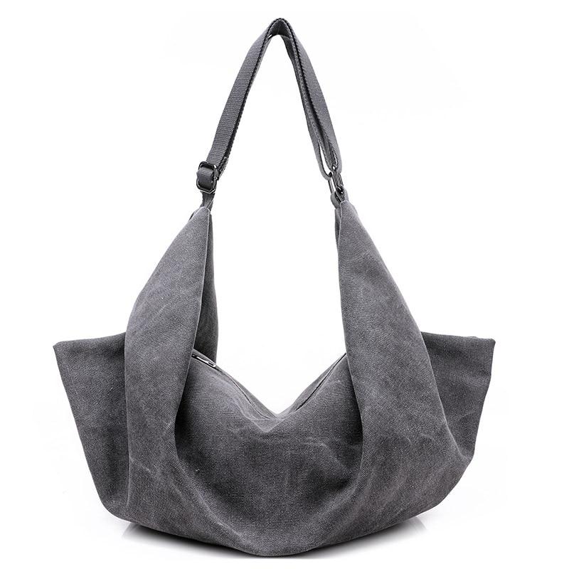 KVKY Vintage Women Canvas Handbag Casual Large Capacity Hobos Bag Hot Sell Female Totes Bolsas Trapeze Ruched Solid Shoulder Bag