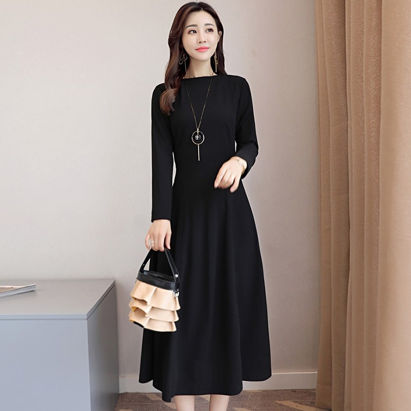 Long Sleeve Midi Dress Women Slim Fitting Party Dress Elegant Solid Dress